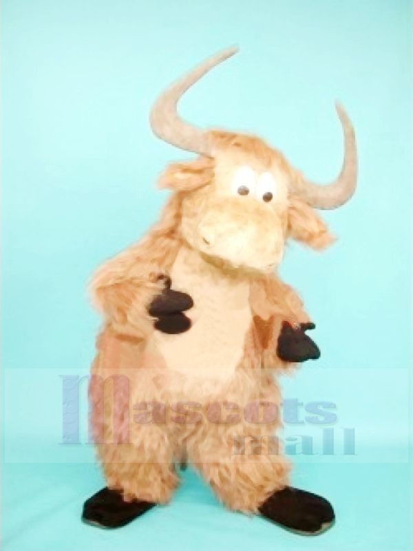 Cute Furry Brown Yak Mascot Costumes Cartoon