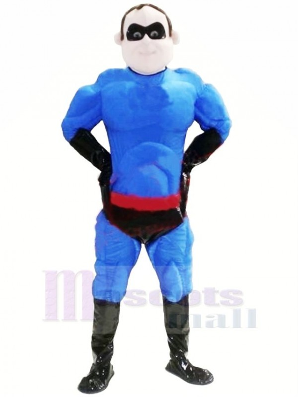 Cool Blue Superman Mascot Costume People