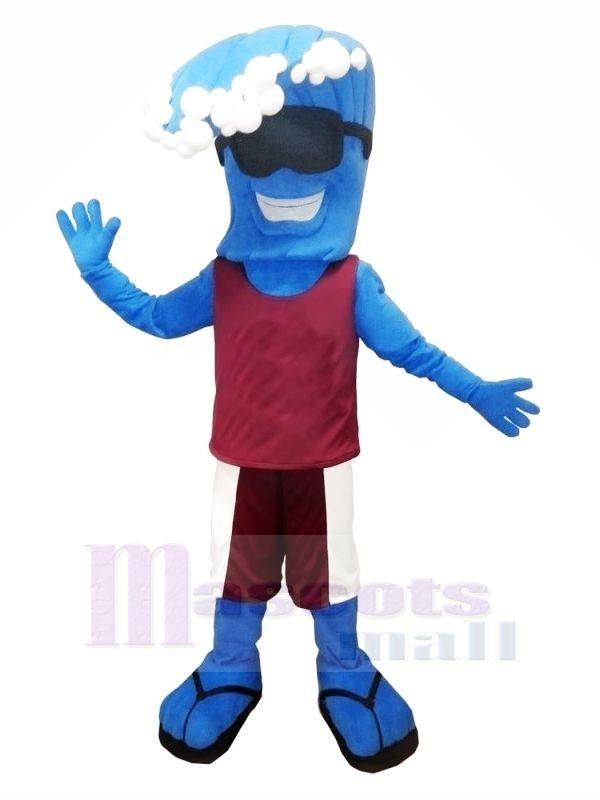 Funny Blue Wave Mascot Costume Cartoon