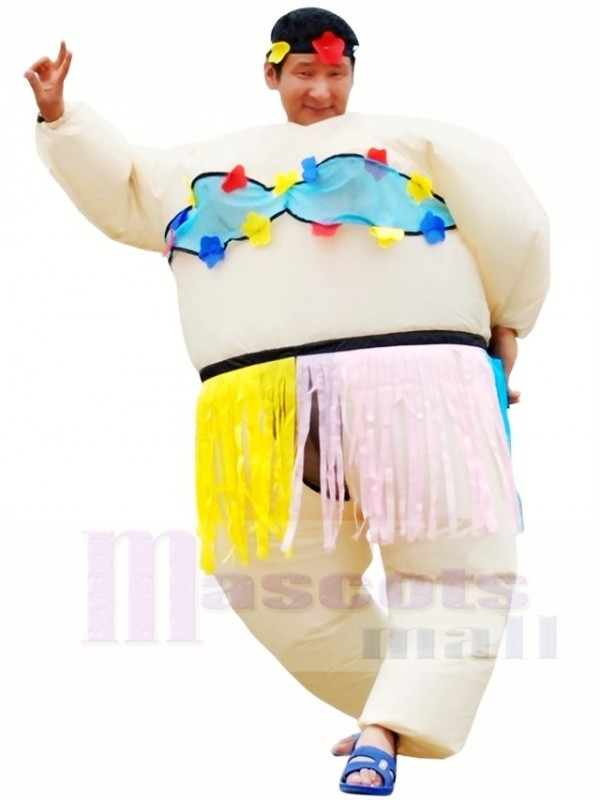 2d90b46e8e748 Hawaiian Dance Hula Skirt Inflatable Halloween Christmas Costumes for Adults