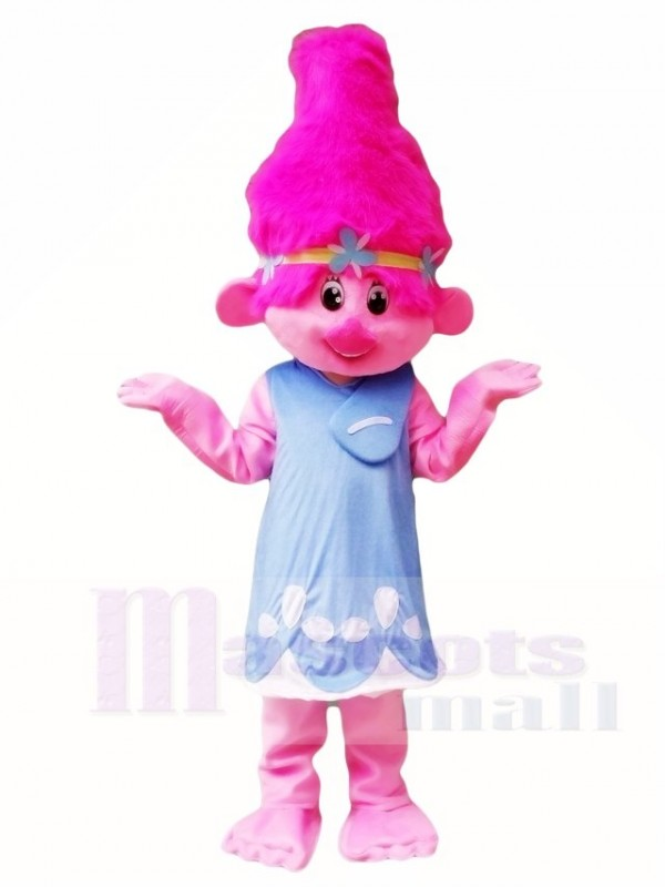 Pink Dress Little Trolls Girl Poppy Mascot Costumes Cartoon