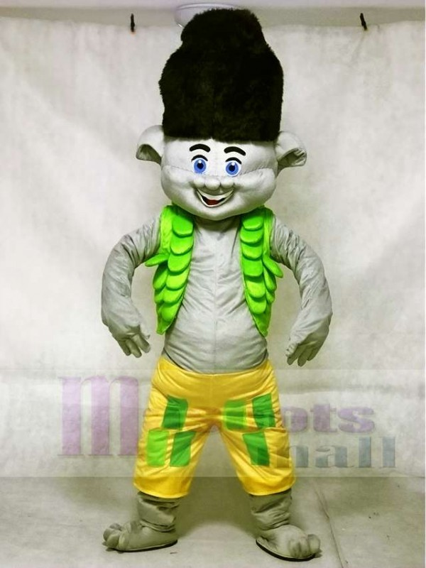 Trolls Boy Branch Mascot Costumes Black Hair Cartoon