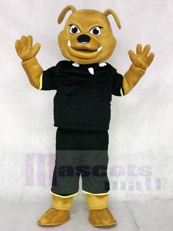 Brown Bulldog with Black Suit Animal Mascot Costumes