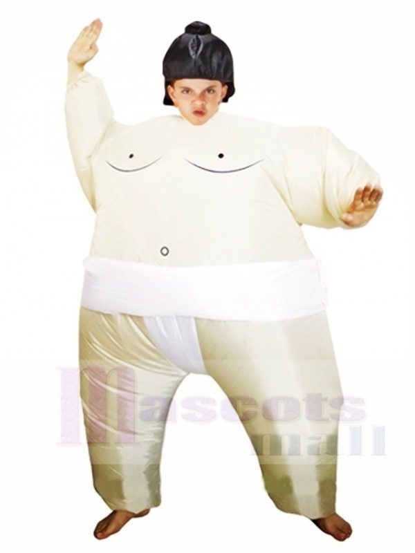 White Japanese Fat Man Sumo Inflatable Halloween Christmas Costumes for Kids