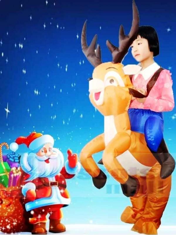 Ride On Reindeer Inflatable Halloween Christmas Xmas Costumes for Kids