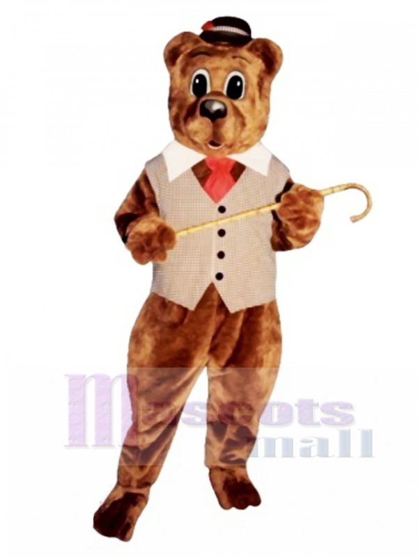 Pa Bear with Vest, Hat & Tie Mascot Costume