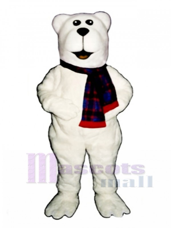 Arctic Bear with Scarf Christmas Mascot Costume