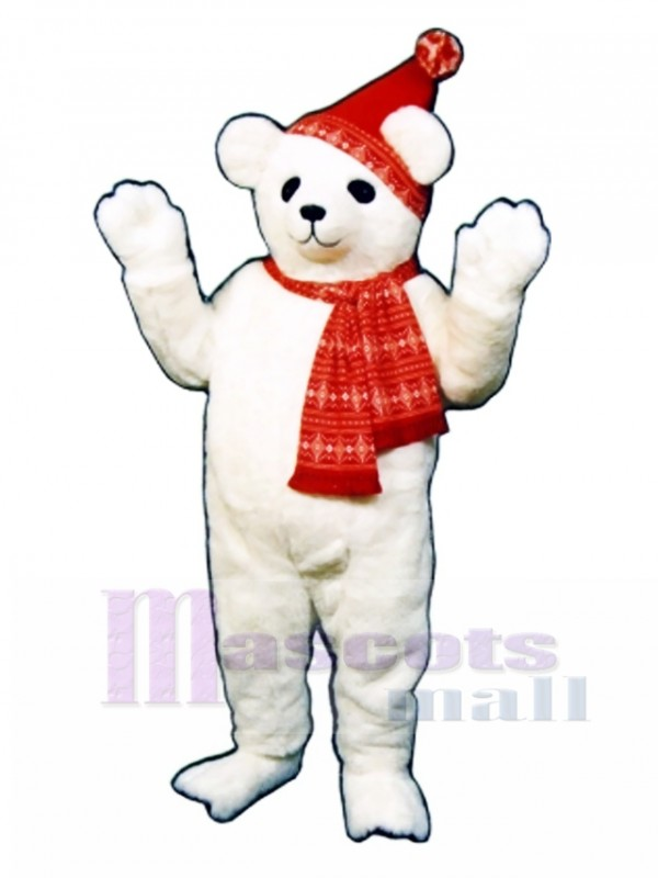 Snow Bear with Hat & Scarf Mascot Costume