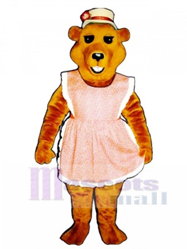 Cute Cheri Bear with Apron & Straw Hat Mascot Costume