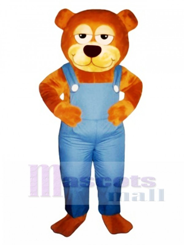 Cute Gardener Bear with Overalls Mascot Costume