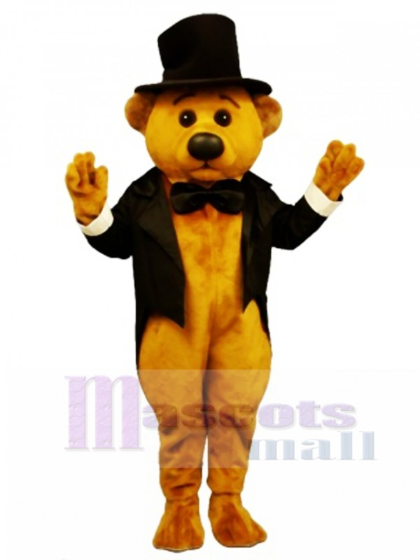 New Sophisticated Bear with Tailcoat & Hat Mascot Costume