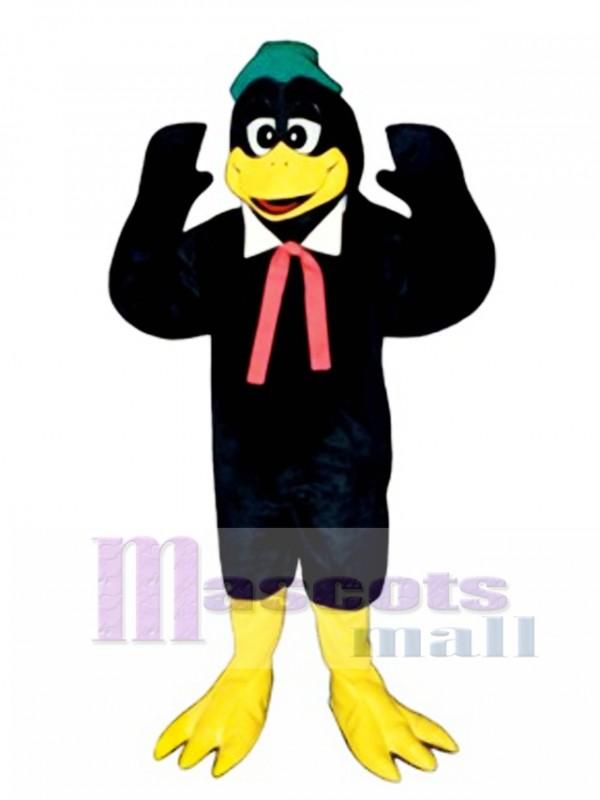 Cute Berry Black Bird with Collar, Hat & Tie Mascot Costume