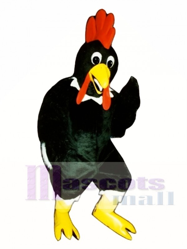 Cute Black Rooster Mascot Costume