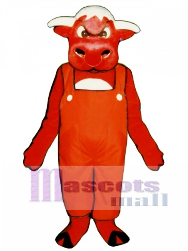 Angry Bull with Overalls Mascot Costume