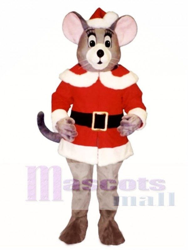 Noel Mouse with Santa Coat & Hat Christmas Mascot Costume