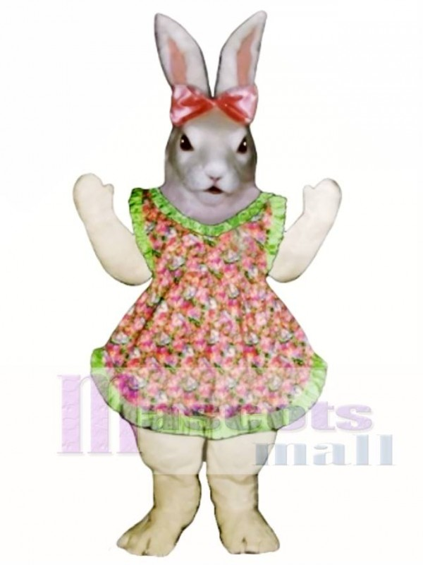 Easter Jill Bunny Rabbit with Apron & Bow Mascot Costume