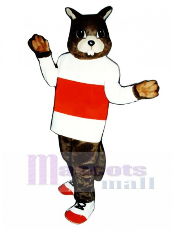 Jogging Beaver with Shirt & Tennis Shoes Mascot Costume