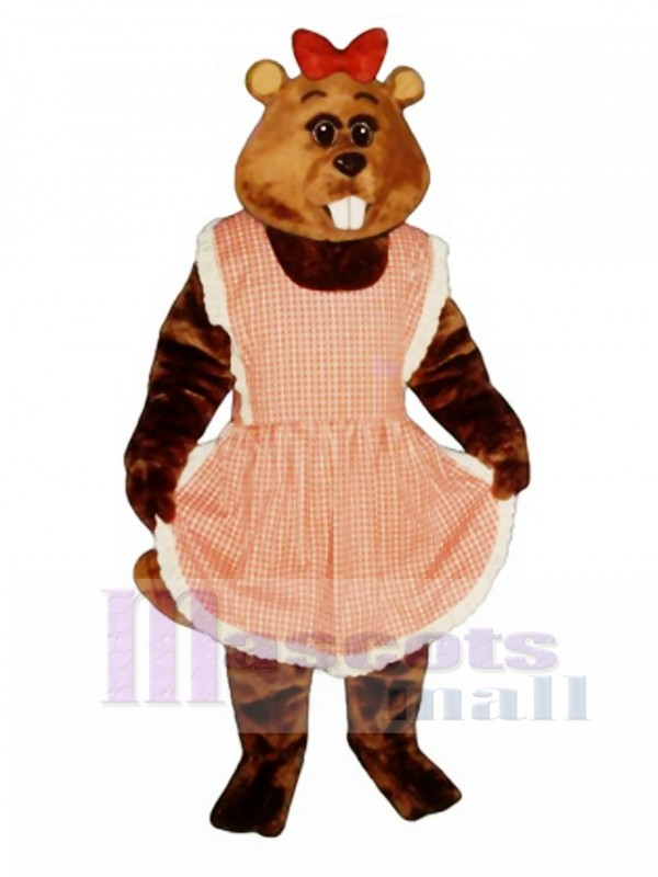 Gloria Beaver with Apron & Bow Mascot Costume