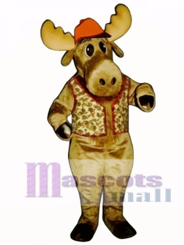 Cute Milton Moose with Hunting Vest & Hat Mascot Costume