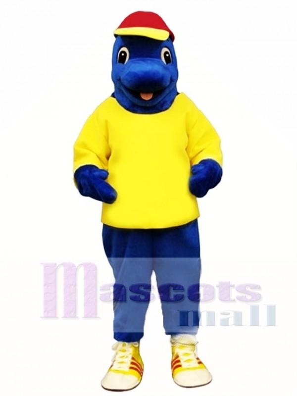 Cute Blue Fish with Shirt & Hat Mascot Costume