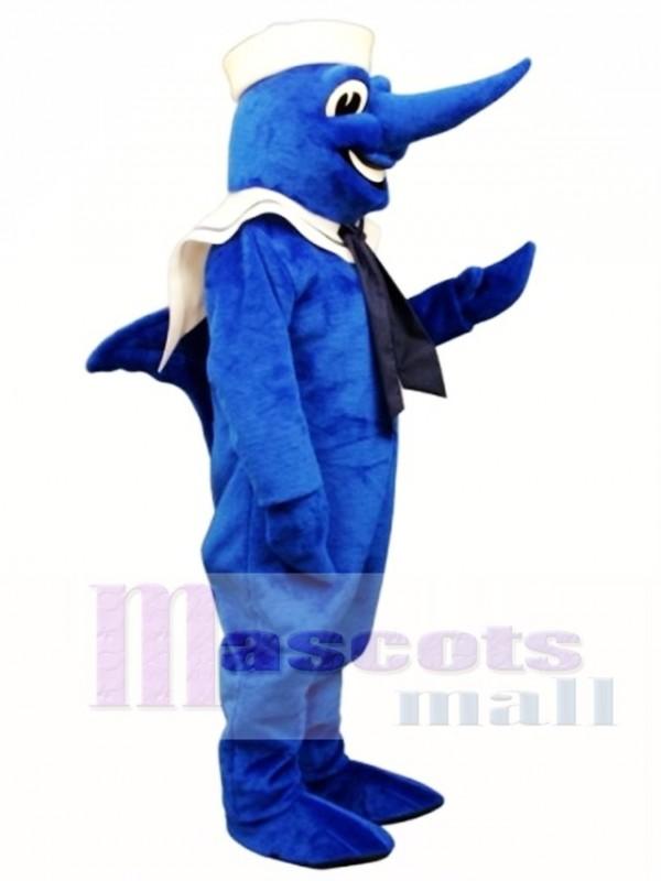 Cute Swordfish with Hat & Collar Mascot Costume