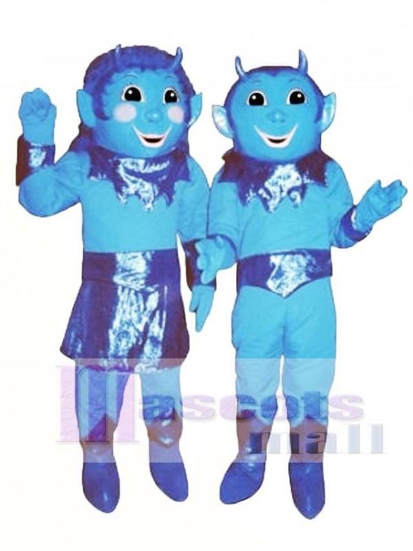 Girl Blue Devil (on left) Mascot Costume