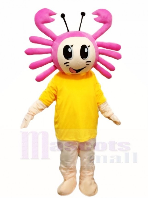 Pink Crab with Yellow Shirt Mascot Costumes Cartoon