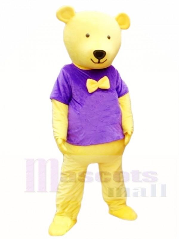 Yellow Teddy Bear in Purple Shirt Mascot Costumes Animal