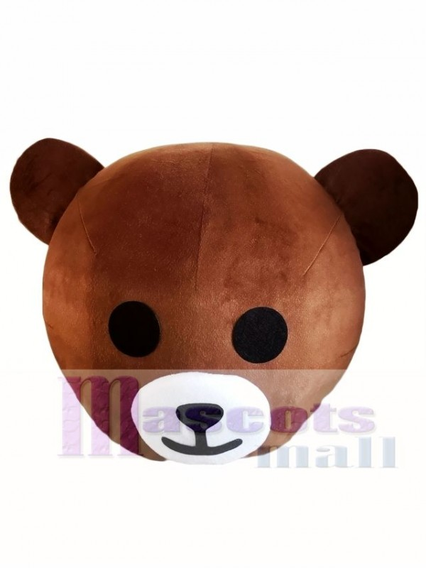 Happy Smile Brown Bear Mascot HEAD ONLY Line Town Friends Mascot