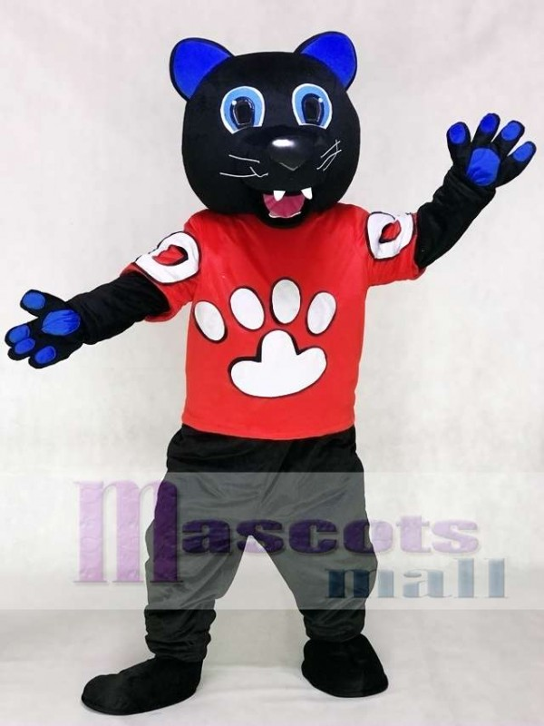 best website ff27d e0a93 Sir Purr Mascot Costume of the Carolina Panthers in Red Shirt