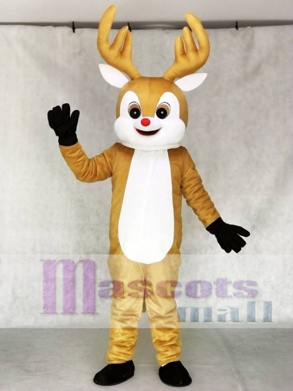 Red Nose Yellow Reindeer Adult Mascot Costume Animal