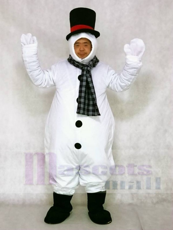 Snowman with Hood Hat and Scarf Mascot Costumes Christmas Xmas