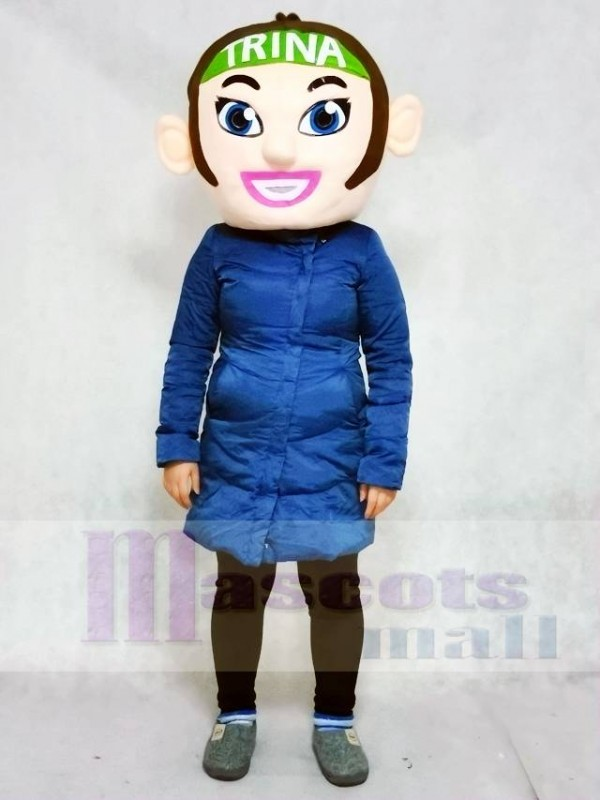 ONLY HEAD of the Brown Hair Cheerleader Girl Mascot Costumes People