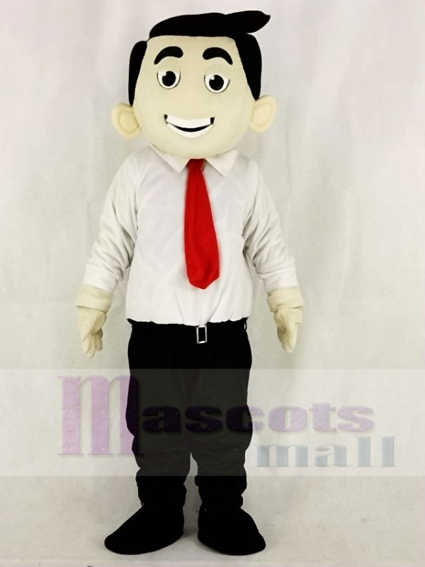 Red Tie Office Boy Business Man Mascot Costumes People