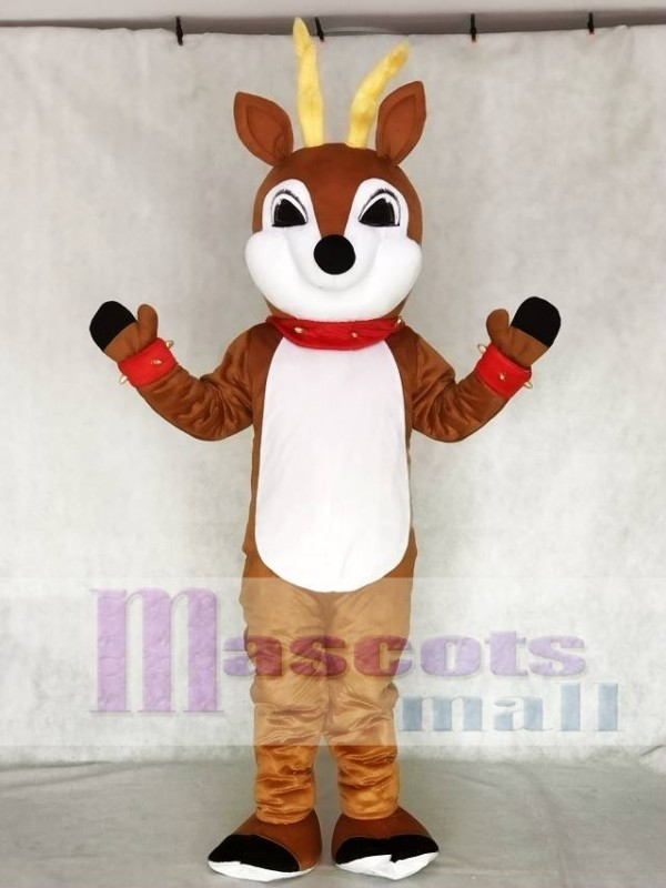 Cute Reindeer with Red Nose Collar & Cuffs Mascot Costume