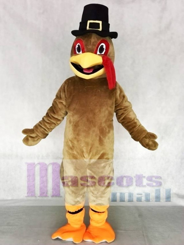 Light Brown Thanksgiving Turkey Mascot Costume with Hat