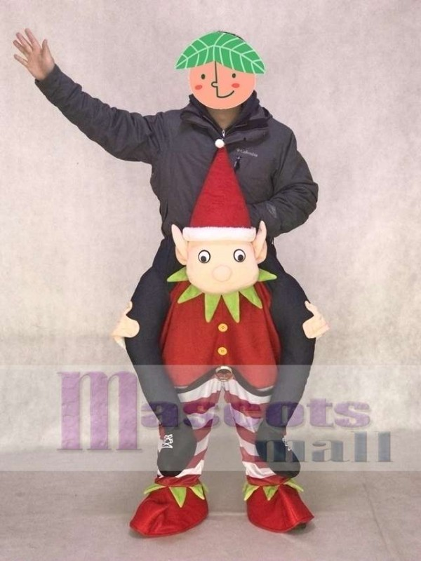 Carry Me Ride on Red Elf Piggyback Elf Mascot Costume