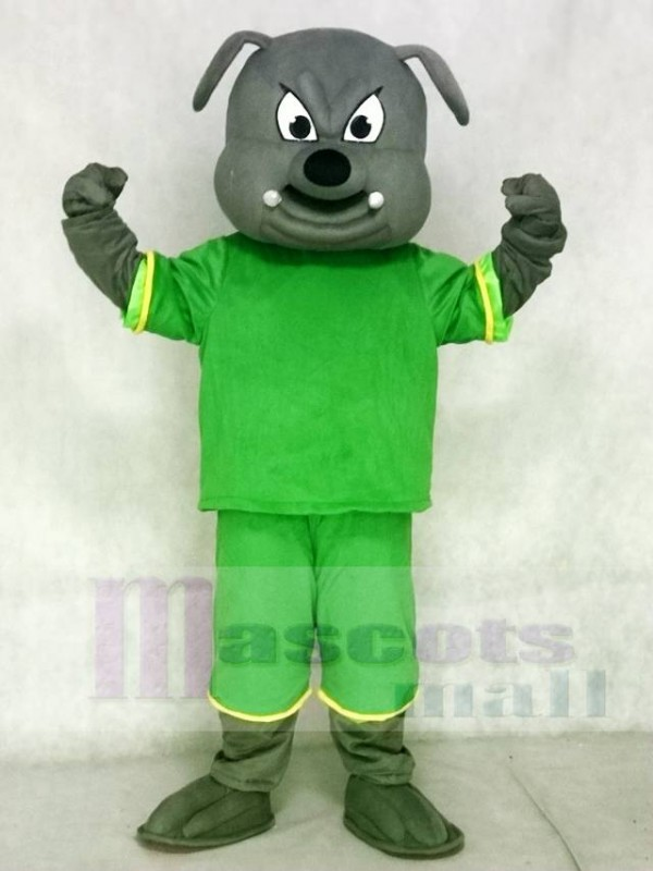 Gray Bulldog Mascot Costumes Animal with Green Suit