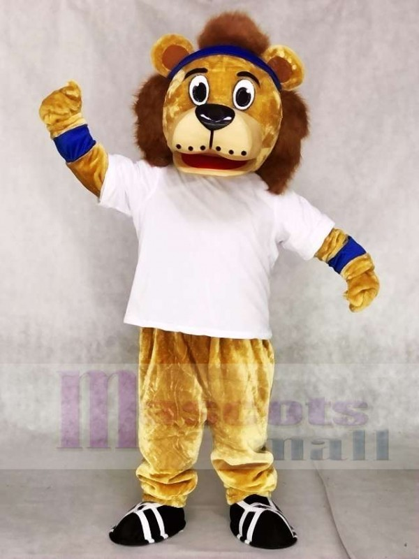 Lenny The Lion with White Vest and Blue Head Band Mascot Costumes Animal