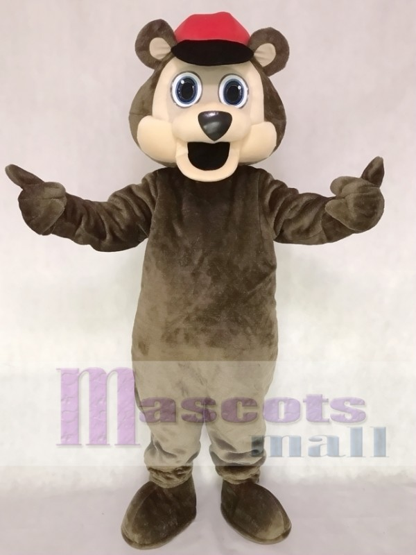 Brown Bear with a Red Hat Mascot Costume Animal
