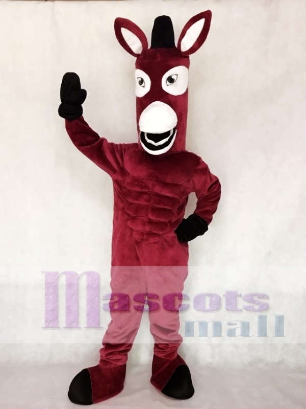 Maroon Mule Mascot Character Costume Fancy Dress Outfit