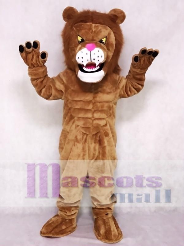 Brown Power Cat Lion Mascot Costume