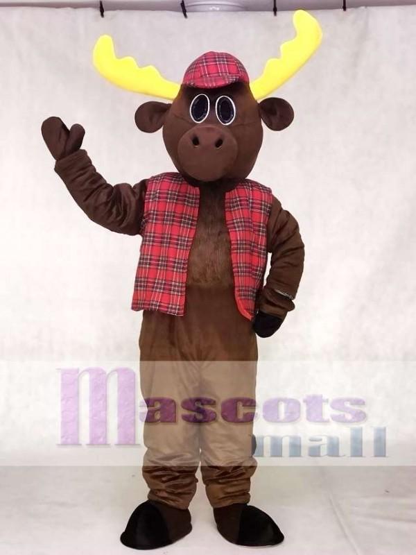 Cute Hunter Moose with Hat & Vest Mascot Costume