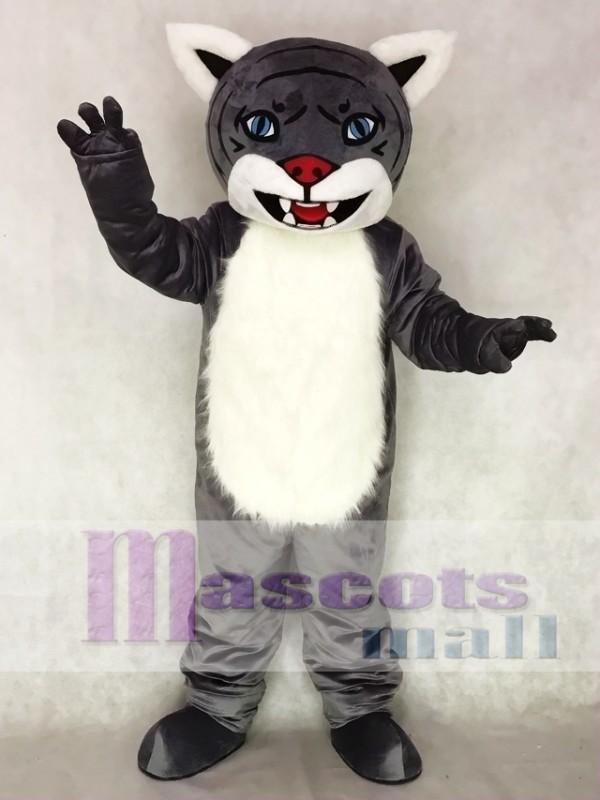 Gray Wildcat Mascot Costume with Yellow Eyes