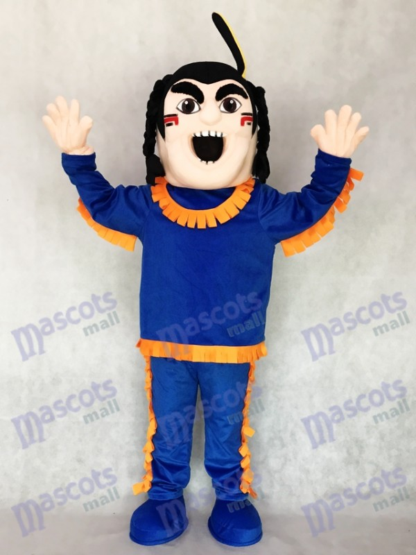 New Brave Indian in Blue with Orange Strim Mascot Costume