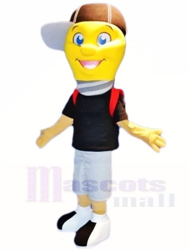 Lamp Light Bulb Boy With Cap Mascot Costumes