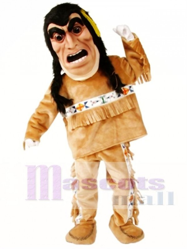 Yellow Feathers Indian Mascot Costume