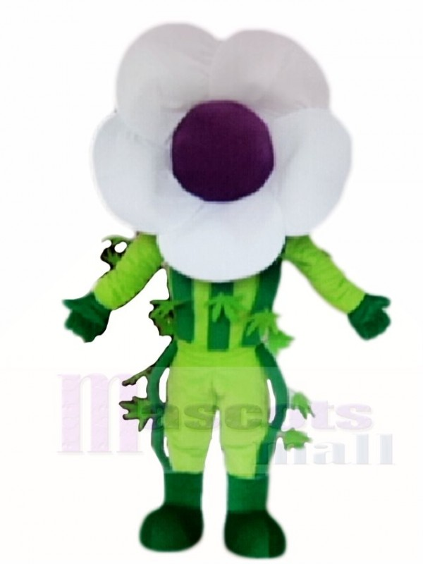 White Flower Mascot Costumes Plant