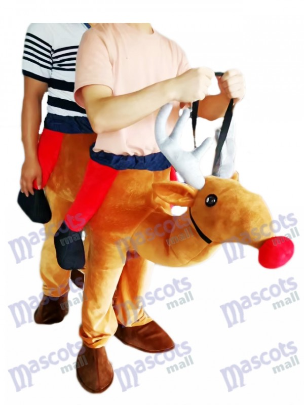 Carry Me Ride Red Nose Rudolph Piggyback Reindeer Mascot Costume