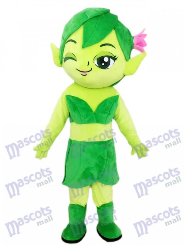 Green Female Elf Wizard with Flower Mascot Costume Cartoon